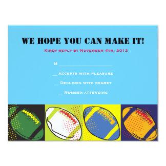 Retro FOOTBALL Themed Bar Bat Mitzvah Reply card Invites