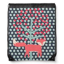 Retro Fox Drawstring Backpack