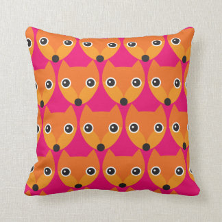 Retro fox kids pattern pillow deco