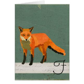 Retro Fox Monogram Notecard Cards