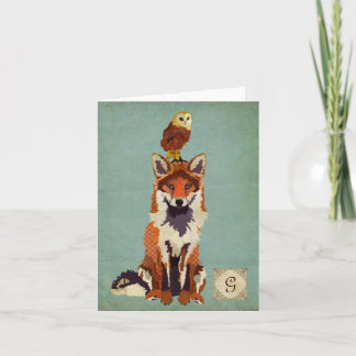Retro Fox & Owl Monogram Notecard