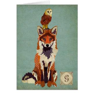 Retro Fox & Owl Monogram Notecard Greeting Card