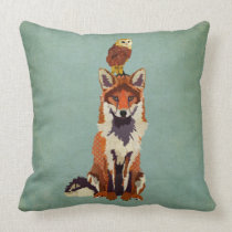 Retro Fox & Owl Pillow