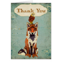 Retro Fox & Owl Thank You Card