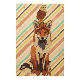 Retro Fox & Owl Wooden Canvas Wood Wall Decor