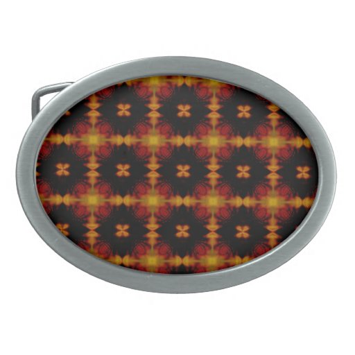 Retro Fractal Pattern red black yellow Oval Belt Buckles