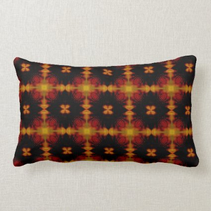 Retro Fractal Pattern red black yellow Throw Pillow