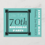 """Retro Frame 70th birthday Party Save the Date Announcement Postcard<br><div class=""""desc"""">Vintage and retro style for this customizable 70th birthday Save the date Postcard with Art Deco Inspiration black frame. Matching Birthday guest book (binder,  hard cover and spiral notebook). Other models are available with white and half-transparent frames.</div>"""