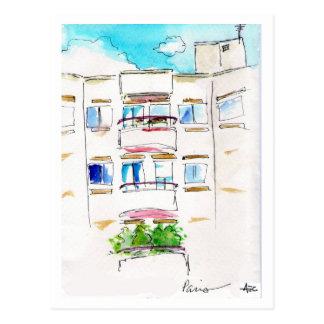 Retro francés de la postal del apartamento de Parí