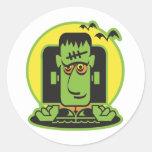 retro frankenstein design classic round sticker