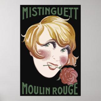 Retro French 1920s style Mistinguett Poster