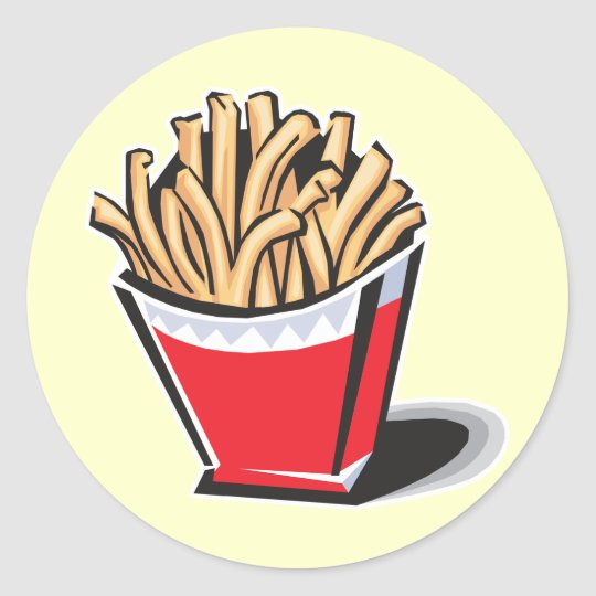 retro french fries design classic round sticker