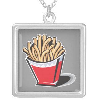 retro french fries design square pendant necklace