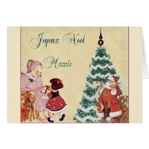 Retro French Joyeux Noël Mamie Christmas Card