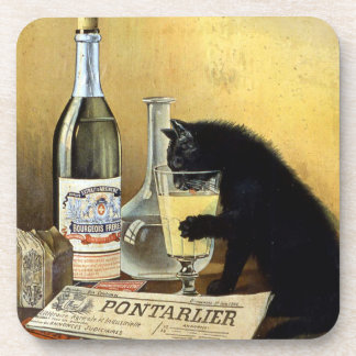 """Retro french poster """"absinthe bourgeois"""" beverage coaster"""