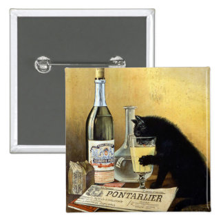"""Retro french poster """"absinthe bourgeois"""" pinback buttons"""