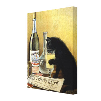"Retro french poster ""absinthe bourgeois"" canvas print"