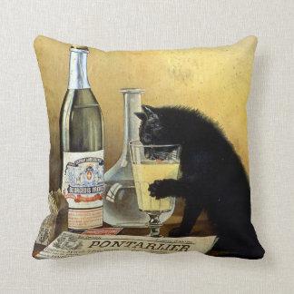 """Retro french poster """"absinthe bourgeois"""" throw pillow"""