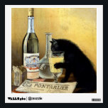 """Retro french poster &quot;absinthe bourgeois&quot; wall sticker<br><div class=""""desc"""">Famous poster black cat drinking absinthe has been around the world and remains one of the most beautiful and representative posters of 1900. Founded by brothers Mourgue for Bourgeois famous distillery in Pontarlier, it uses the same codes as the famous painting by Charles Maire for french Absinthe Pernod Fils, namely:...</div>"""
