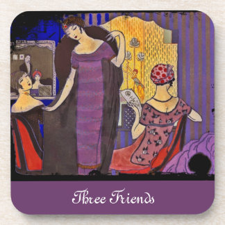 Retro Friends in Powder Room Drink Coaster