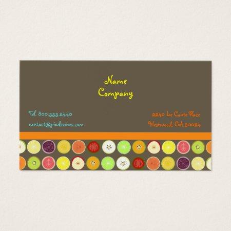 Retro Fruit Juice Ash Brown Background Business Cards Template Fruit Farming Profile Card