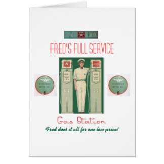Retro 'Full Service Gas Station' Card