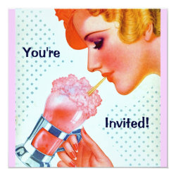 Retro Fun 1930s Pink Milkshake Invitation