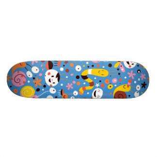 Retro Fun Butterfly Snail Worm Pattern Skateboard