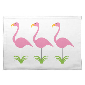 Retro Fun & Classic Pink Flamingo Trio Cloth Placemat