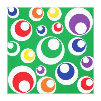 Retro Fun Colorful Green Circles Dots Balls Design Stretched Canvas Print