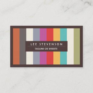 Fun business cards zazzle retro fun colorful multi stripes striped business card colourmoves