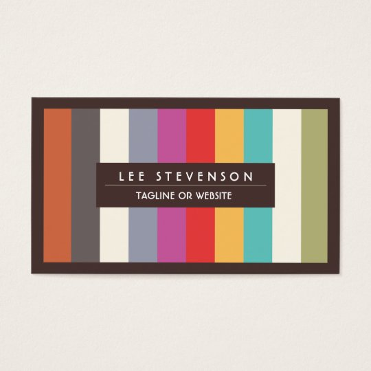 Retro Fun Colorful Multi Stripes Striped Business Card