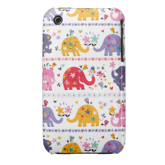 Retro Fun Elephant Pattern iPhone 3 Covers