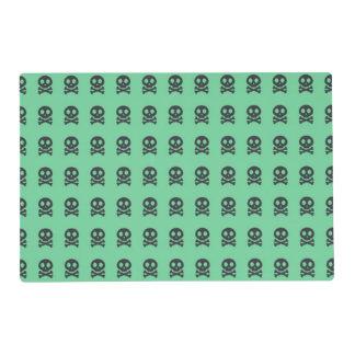 Retro Fun Green Skull Pattern Placemat