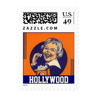 Retro Fun Movie Popcorn HOLLYWOOD vintage Stamps