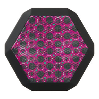 Retro Fun Pink Skull Pattern Black Bluetooth Speaker
