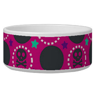 Retro Fun Pink Skull Pattern Bowl
