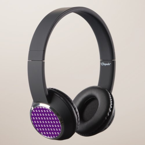 Retro Fun Purple Skull Pattern Headphones