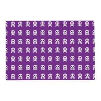 Retro Fun Purple Skull Pattern Placemat