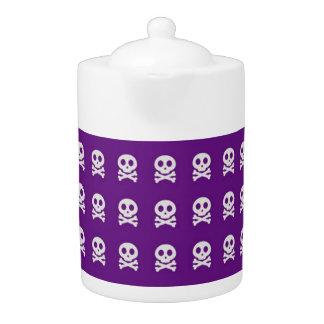Retro Fun Purple Skull Pattern Teapot