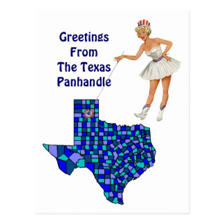 Retro Fun Texas state Map Point Postcard Swapping
