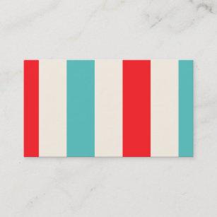 Fun business cards zazzle retro fun turquoise and red striped business card colourmoves