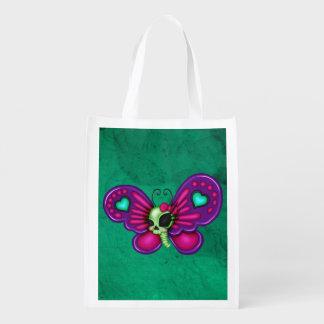 Retro Fun Zombie Butterfly Grocery Bag