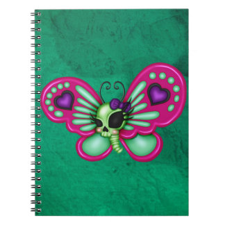 Retro Fun Zombie Butterfly Spiral Notebook