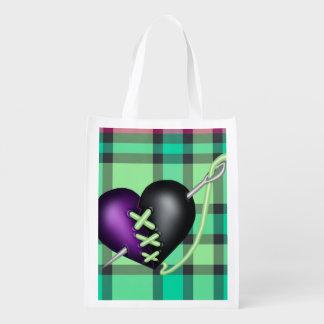 Retro Fun Zombie Heart Grocery Bag