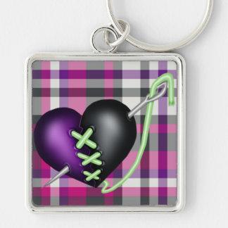 Retro Fun Zombie Heart Silver-Colored Square Keychain