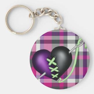 Retro Fun Zombie Heart Basic Round Button Keychain