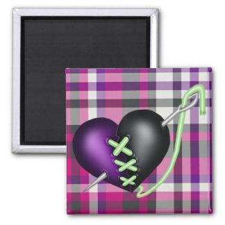Retro Fun Zombie Heart 2 Inch Square Magnet