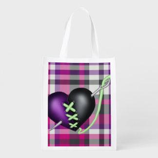Retro Fun Zombie Heart Reusable Grocery Bag