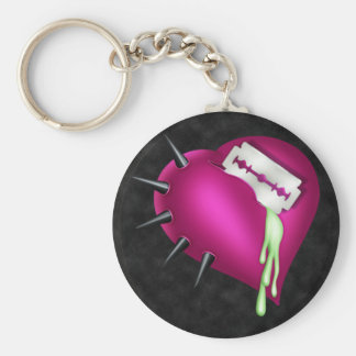 Retro Fun Zombie Pink Heart Basic Round Button Keychain
